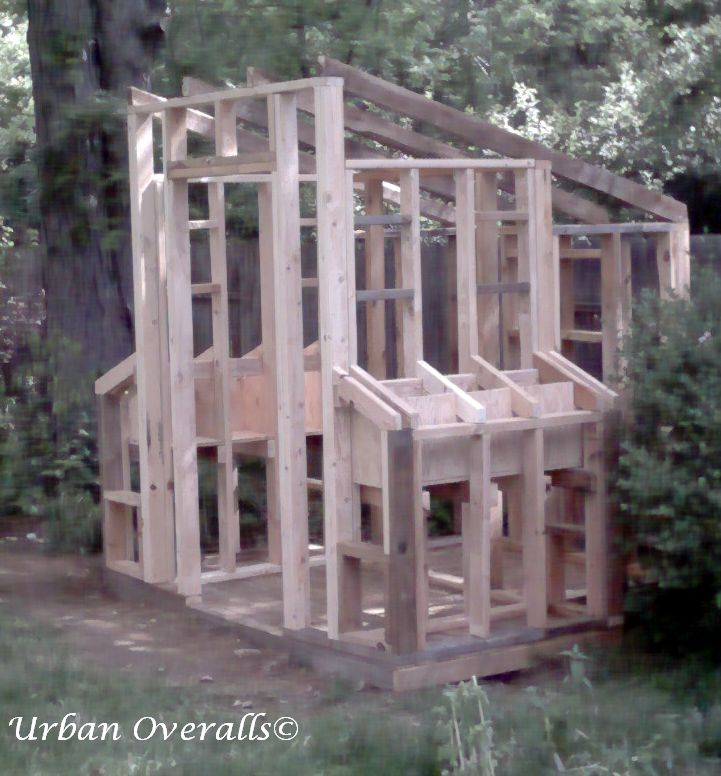 "2"" x 4"" wood frame hen house"