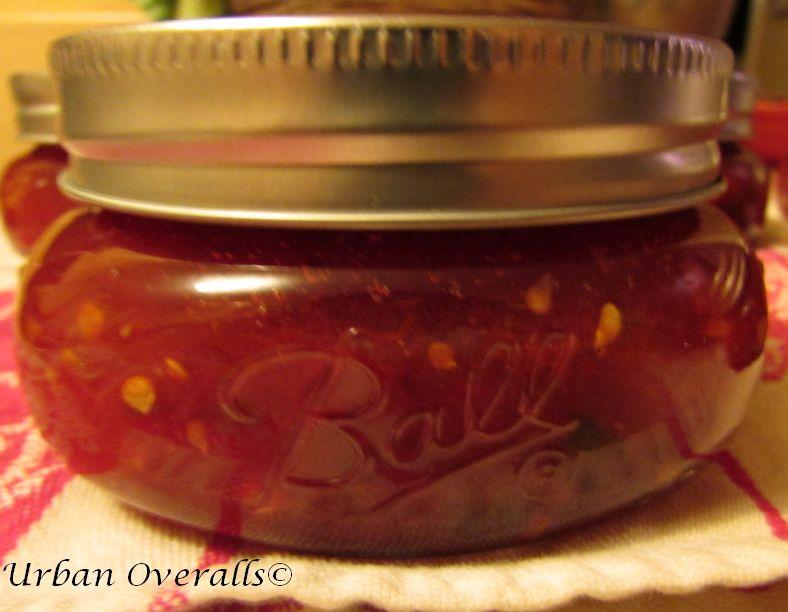 tomato basil jam in a jar