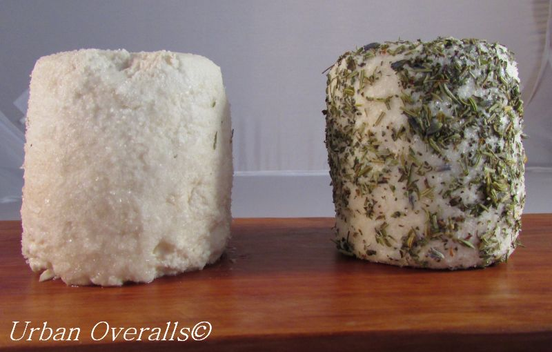 chèvre with salt and chèvre with dried herbs