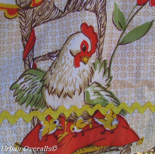 fun chicken print apron
