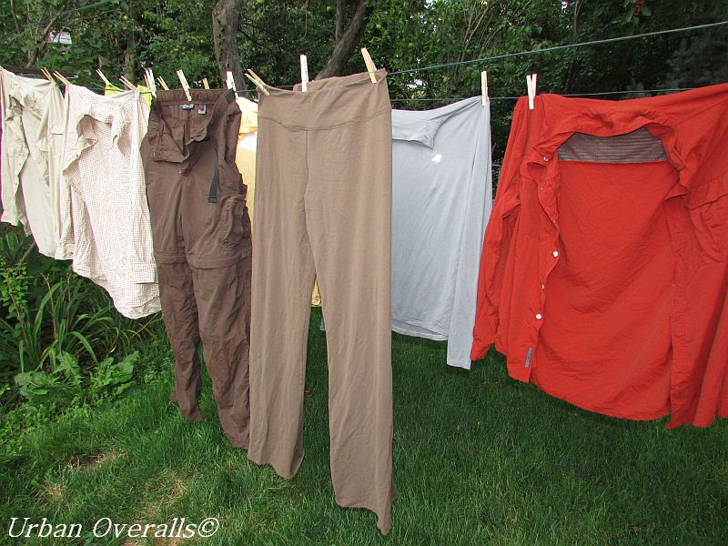mended and line-dried laundry
