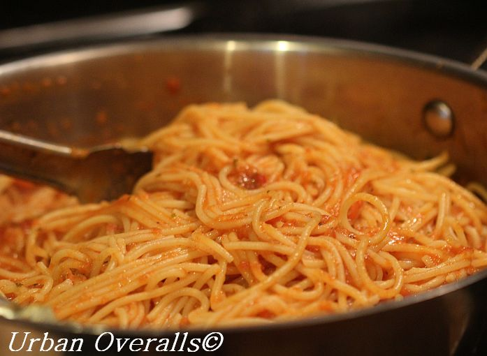 finish cooking the pasta in the sauce