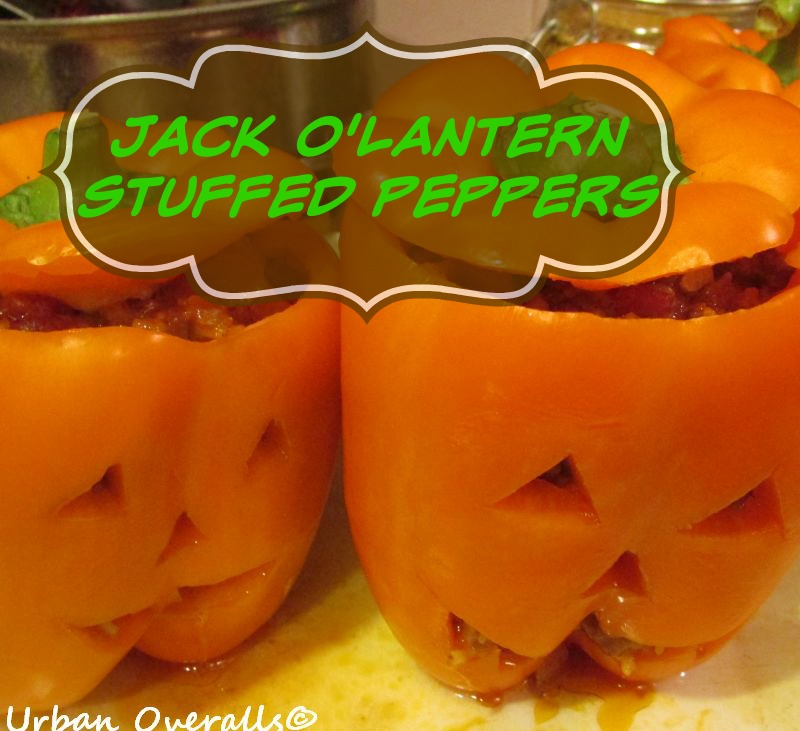 jack o' lantern stuffed bell peppers